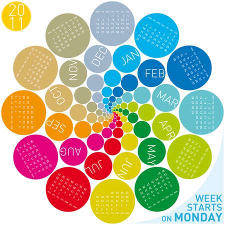colorful calendar for 2011. Circular design. Week starts on Monday Stock Vector - 8385750