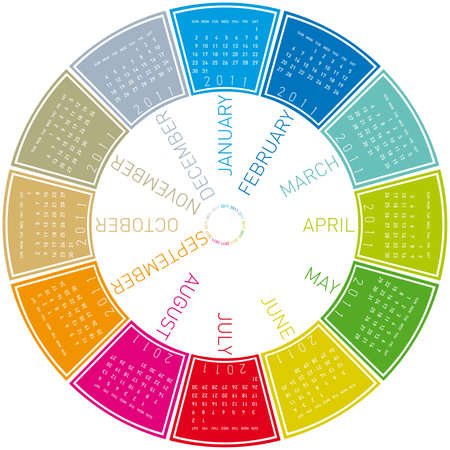 colorful calendar for 2011. Circular design. Week starts on Sunday Stock Vector - 8385754