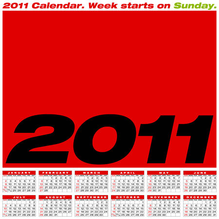 Calendar for year 2011, in vector format. American style (Week starts on Sunday). Vector
