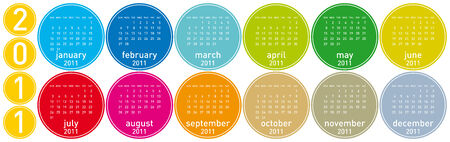 Colorful Calendar for year 2011 in a circles theme. in vector format. Stock Vector - 8430415