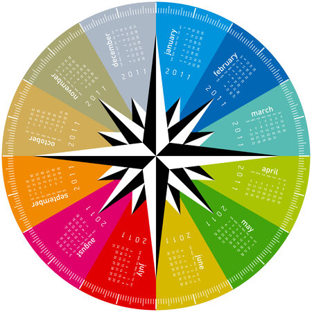 colorful calendar for 2011. Circular design. Week starts on Sunday Stock Vector - 8430419