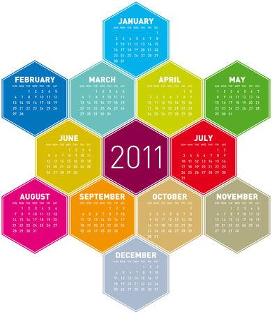 hexagonal: Colorful Calendar for year 2011 in an hexagonal pattern. in vector format Illustration