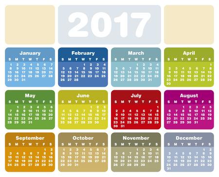 meses del año: Calendario colorido para el año 2017 Vectores