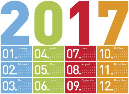 meses del a  ±o: Calendario colorido para el año 2017 Vectores