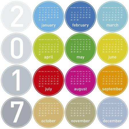 calender: Colorful Calendar for year 2017 in a circles theme