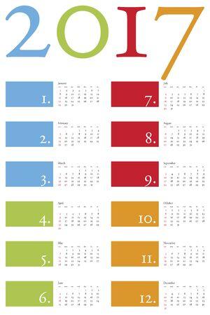 almanac: Colorful and elegant Calendar for year 2017 Illustration