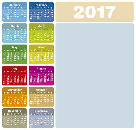 calender: Colorful Calendar for Year 2017