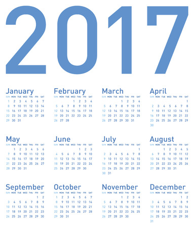 calender: Simple Blue Calendar for year 2017