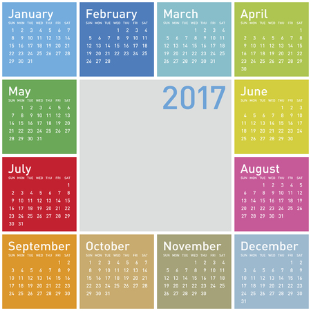 Colorful Calendar for Year 2017, in vector format. Illustration