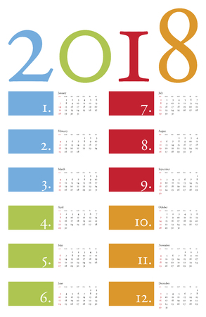 almanacs: Colorful and elegant Calendar for year 2018 in vector format