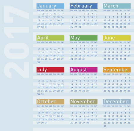 almanac: Colorful Calendar for Year 2017, in vector format. Illustration