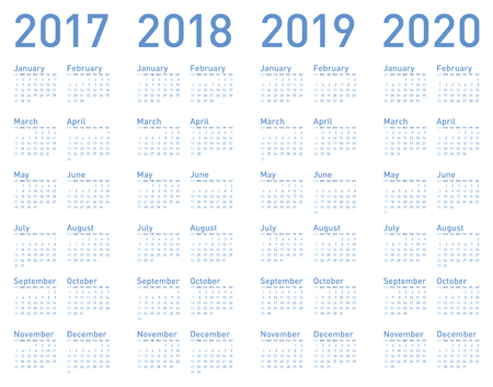 Simple Blue Calendar for years 2017, 2018, 2019 and 2020, in vector format. Illustration