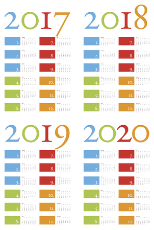 scheduler: Colorful and elegant Calendar for years 2017, 2018, 2019 and 2020, in vector format Illustration