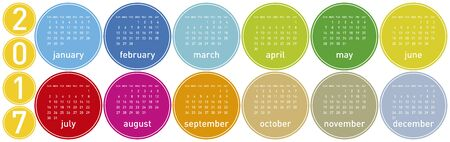 scheduler: Colorful Calendar for year 2017 in a circles theme, in vector format. Illustration