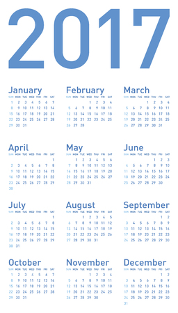 calender: Simple Blue Calendar for year 2017, in vector format. Illustration