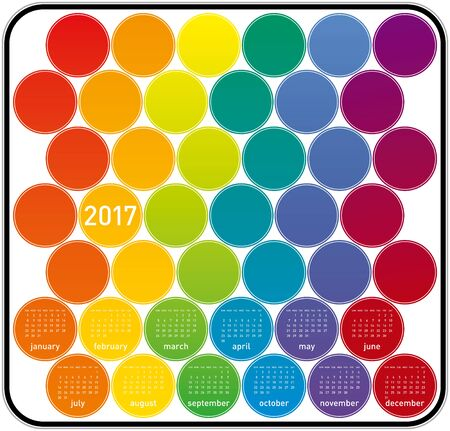 organizer: Colorful Calendar for year 2017 in a circles theme, in vector format. Illustration