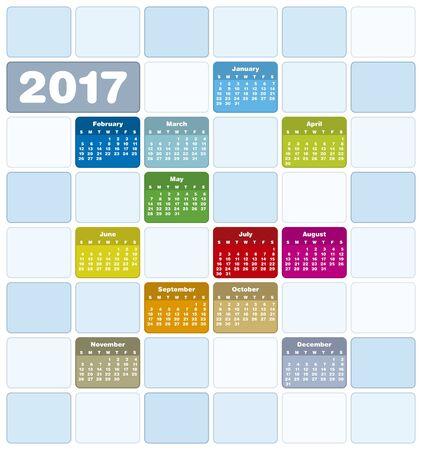 almanac: Colorful Calendar for Year 2017, in vector format. Illustration
