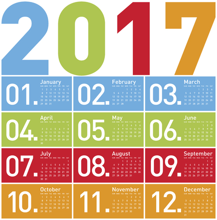 calender: Colorful Calendar for Year 2017, in vector format. Illustration