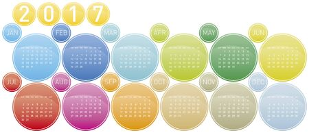 Colorful Calendar for year 2017 in a circles theme, in vector format