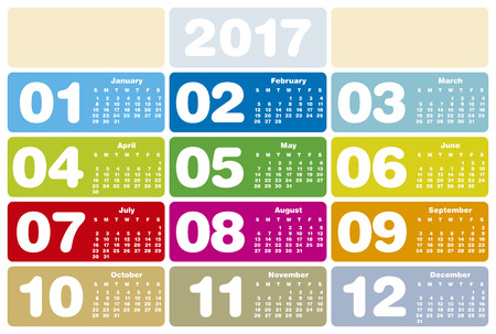 new years day: Colorful Calendar for Year 2017, in vector format