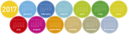 Colorful Calendar for year 2017 in a circles theme, in vector format. Illustration