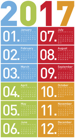 organiser: Colorful Calendar for Year 2017, in vector format. Illustration