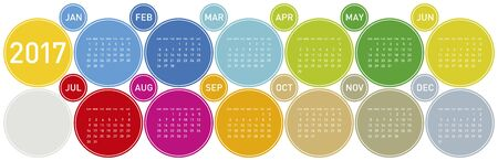 organiser: Colorful Calendar for year 2017 in a circles theme, in vector format. Illustration
