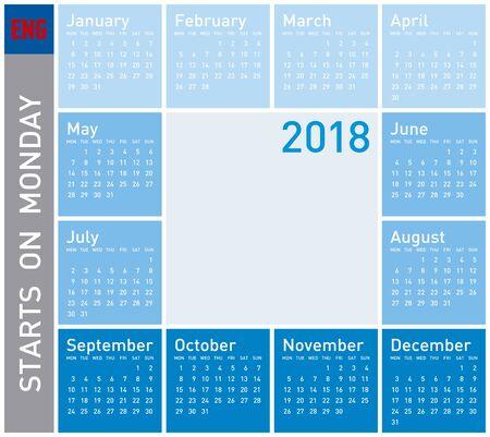 scheduler: Blue Calendar for Year 2018, in English. Week starts on Monday Illustration