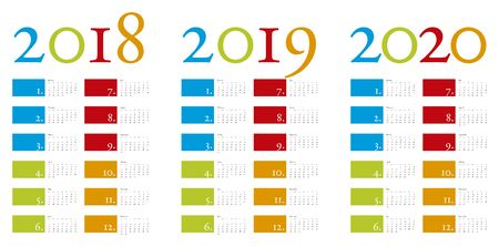 Colorful and elegant Calendar for years 2018, 2019 and 2020 in vector format