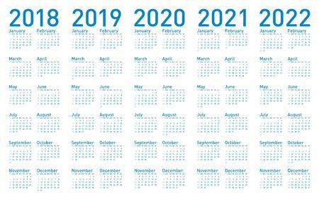 간단한 블루 일정 년 2018,2019, 2020, 2021 및 2022, 벡터. 일러스트