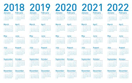 Simple Blue Calendar for years 2018,2019, 2020, 2021 and 2022, in vectors. Çizim