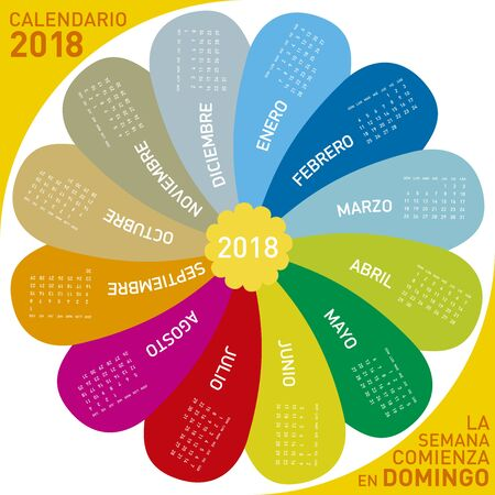 rounded circular: Colorful calendar for 2018, flower design.