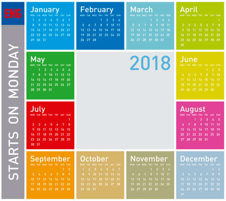Colorful calendar for Year 2018, in English.