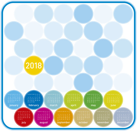 Colorful Calendar for Year 2018, in English. Week starts on Sunday