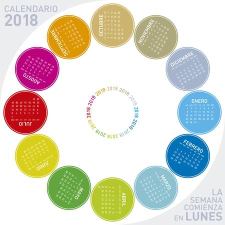 Colorful calendar for 2018 in Spanish, circular design week starts on Monday Illustration