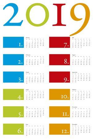Colorful and elegant Calendar for year 2019 in vector format