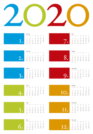 scheduler: Colorful and elegant Calendar for year 2020 in vector format