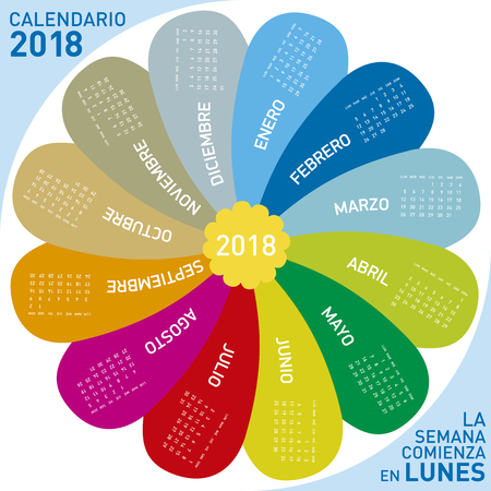 colorful calendar for 2018, flower design. Spanish Language, Week starts on Monday. Illustration