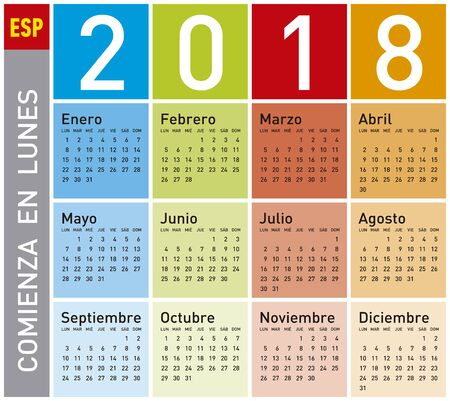 scheduler: Colorful Calendar for Year 2018, in Spanish. Week starts on Monday