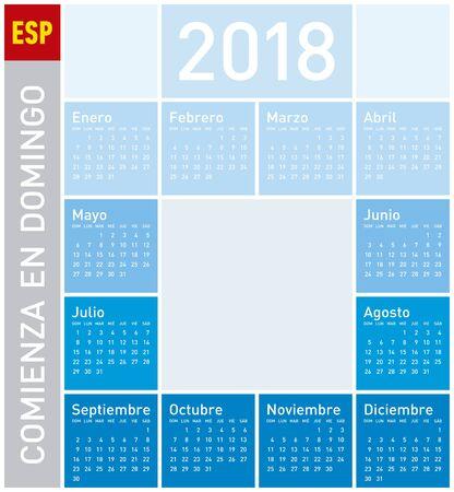 Blue Calendar for Year 2018, in Spanish. Week starts on Sunday Illustration
