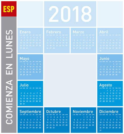 Blue Calendar for Year 2018, in Spanish. Week starts on Monday Illustration