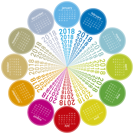 appointments: Colorful calendar for 2018. Circular design. Week starts on Sunday