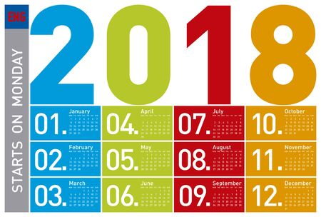 scheduler: Colorful Calendar for Year 2018, in English. Week starts on Monday