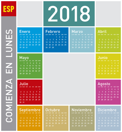 Colorful Calendar for Year 2011, in Spanish. Week starts on Monday Illustration