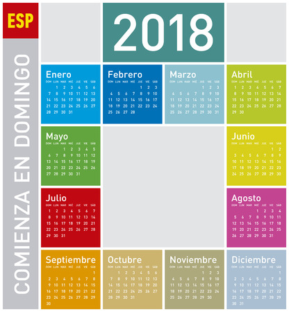 Colorful Calendar for Year 2018, in Spanish. Week starts on Sunday