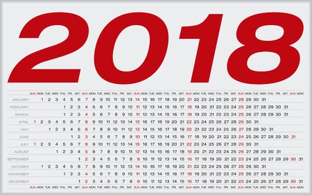 Simple Calendar for 2018. Numbers within a grid. Horizontal design.