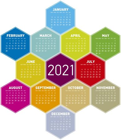 Colorful Calendar for year 2021 in an hexagonal pattern.
