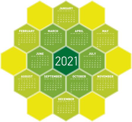 Green Calendar for year 2021 in an hexagonal pattern. In vector format.