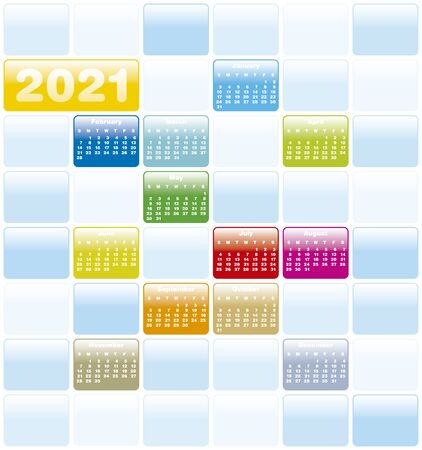 Colorful Calendar for Year 2021, in vector format.