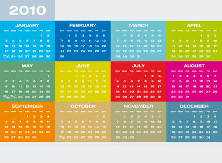 Colorful Calendar for year 2021 in vector format. Vettoriali